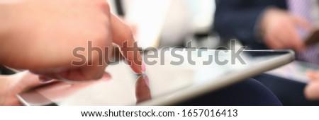 Stok fotoğraf: Iş · kadını · bir · şey · önemli · tablet · vektör