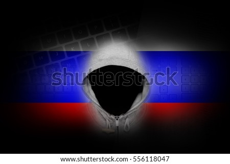 Russian hacker. computer thief from Russia. Man in mask and  lap Stock photo © popaukropa