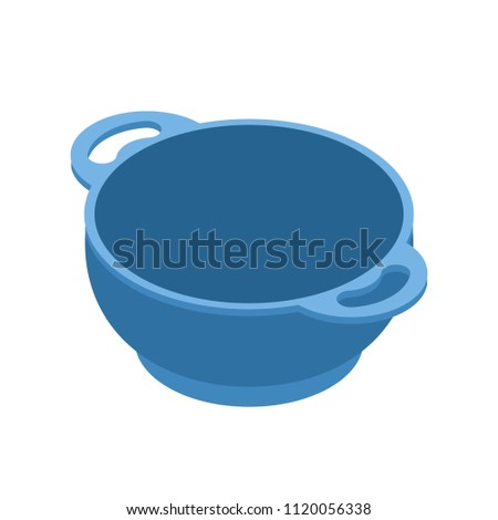 Blue empty bowls for food is isolated isometry. Cooking utensils Stock photo © MaryValery