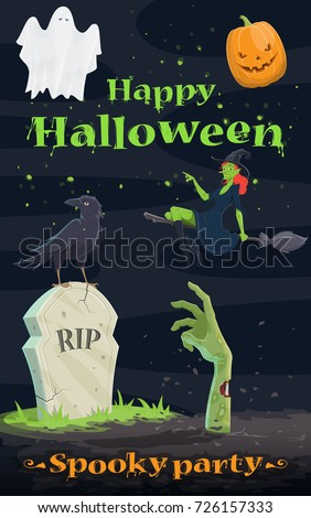 halloween grave and hand of zombie black cat and skull sinist stock photo © maryvalery
