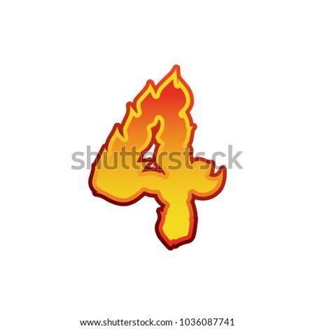 Numer ognia płomienie chrzcielnica cztery tatuaż Zdjęcia stock © popaukropa