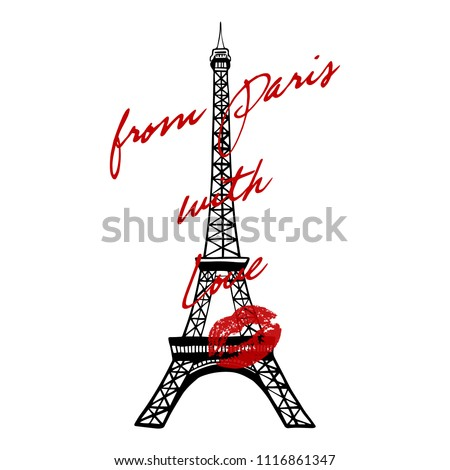 i love paris text with red heart t shirt print design templat stock photo © pashabo