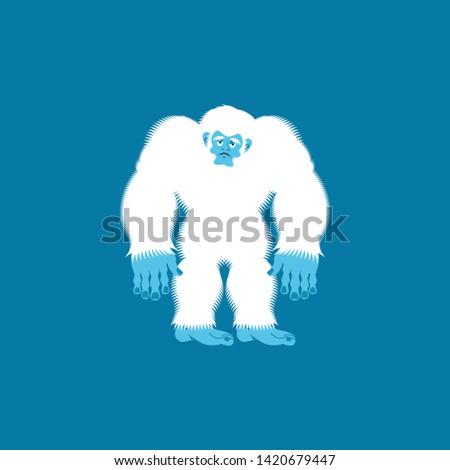 Yeti sad. Bigfoot sorrowful. Abominable snowman depression. Vect Stock photo © popaukropa