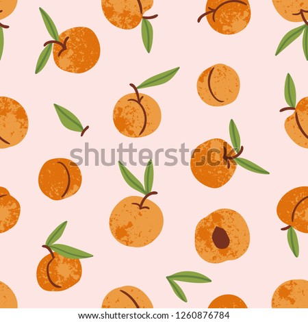 Peach seamless pattern. Apricot endless background, texture. Fruits backdrop. Vector illustration. Stock photo © lucia_fox