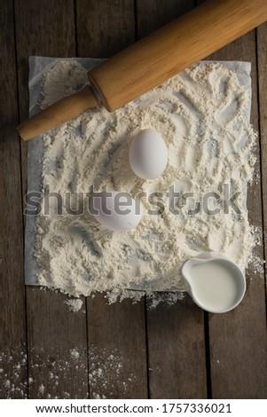 Meel eieren deegrol boter papier tabel Stockfoto © wavebreak_media