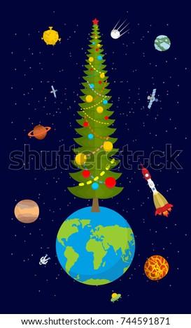 Noël terre nouvelle année planète grand arbre de noël Photo stock © popaukropa