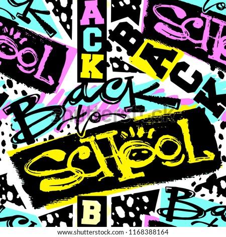 Vissza az iskolába végtelen minta kéz rajz firka stílus Stock fotó © lucia_fox