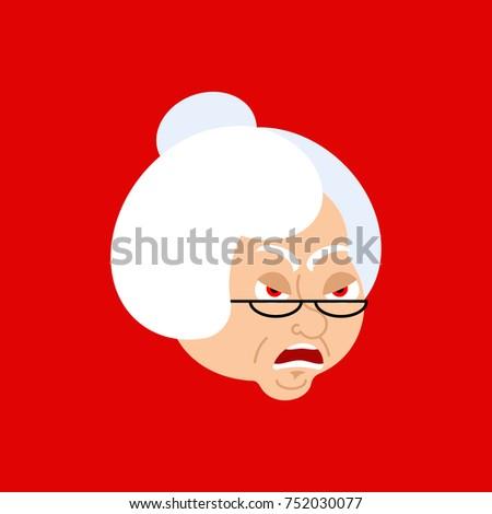 Grootmoeder boos avatar gezicht oma kwaad Stockfoto © popaukropa