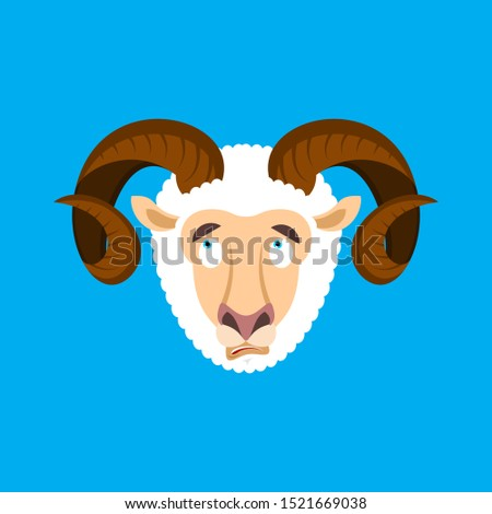 Ram confused emoji face avatar. Sheep is perplexed emotions. Far Stock photo © popaukropa