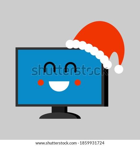Cartoon · portátil · icono · cara · sonriente · azul · Screen - foto stock © maryvalery