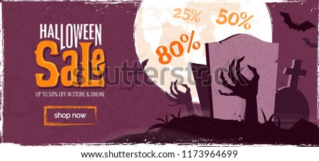 Stock photo: Halloween Sale vector illustration with coffin, zombie hand, bats, monn and Holiday elements on oran