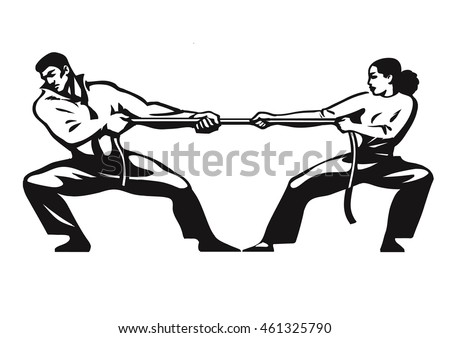 girl power, woman fights with a man. Gender conflicts and inequa Stock photo © studiostoks