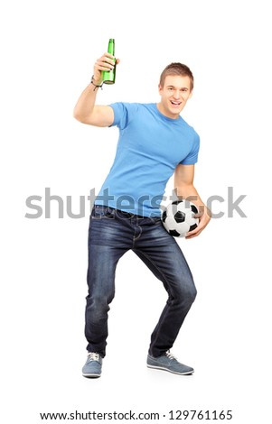 full length portrait of a satisfied happy man celebrating success stock photo © deandrobot