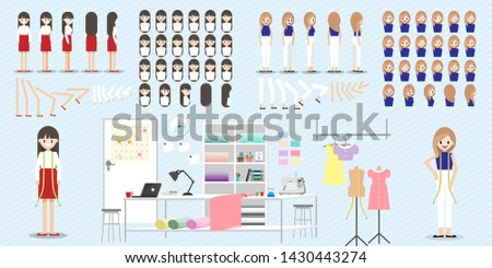 Fashion designer measuring on body part of women for a tailor ma Stock photo © snowing