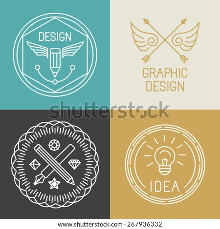 Pencil and Pen Tool icon. Drawing tools symbol. Badge, label for design agency, freelancers. Stock v Stock photo © JeksonGraphics