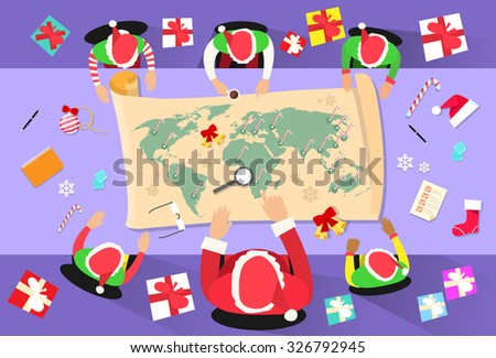 Santa Claus Meeting. Christmas office. Elf and gift. New Year wo Stock photo © MaryValery