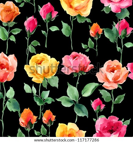 roses seamless pattern rose with a long stem and leaves vector stock photo © popaukropa