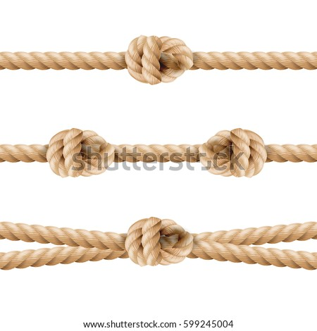 Realistic Rope Line Eith Knot. Yellow Twisted Ropes Set, Isolated On White Background. Vector Illust Stock photo © pikepicture