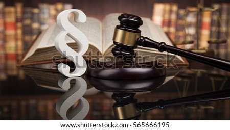paragraph law and justice concept wooden gavel mirror backgro stock photo © janpietruszka