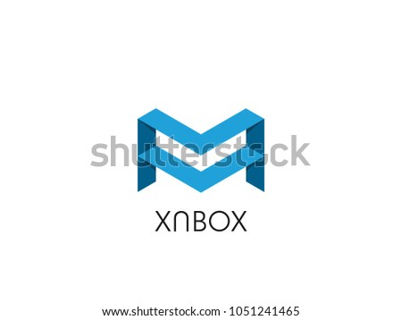 abstract letter M logo with stack box shape. icon template symbol for corporate business or data dat Stock photo © taufik_al_amin