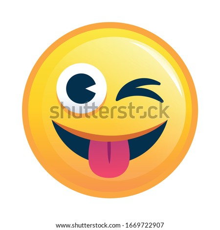 Smiling Yellow Star Cartoon Emoji Face Character With Wink Expression Stock photo © hittoon