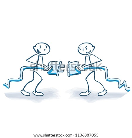 Stick figures putting together a power line and having a contact Stock photo © Ustofre9