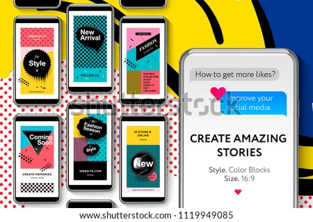 social media templates pop art style and pattern fashion promo banners for online shopping with geo stock photo © ikopylov