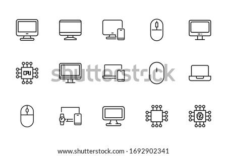 Linear Database, Server Isolated Flat Web Mobile Icon set. Vector Illustration isolated on modern ba stock photo © kyryloff
