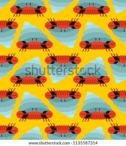 Crab hermit pixel art pattern seamless. 8 bit Crab in shell. Mar Stock photo © popaukropa
