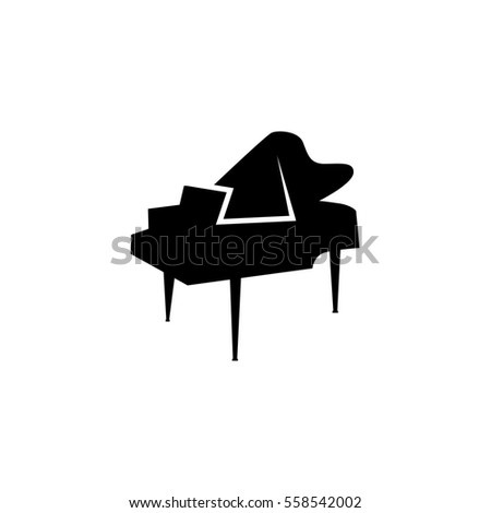 Icon grand piano black Template. Musical instrument Vector illus Stock photo © MaryValery