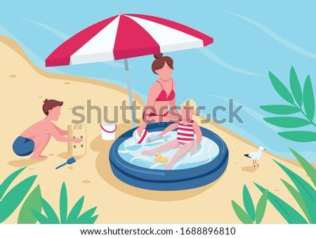 Nyár tengerpart fiú megnyugtató tevékenység díszlet Stock fotó © svvell