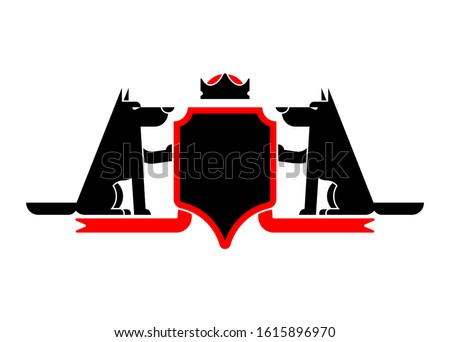 Wolf and Shield heraldic symbol werewolf. Forest predator Sign w Stock photo © MaryValery