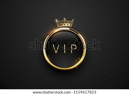 Vip black label with round golden ring frame and crown on black geometric background. Dark glossy Stock photo © Iaroslava