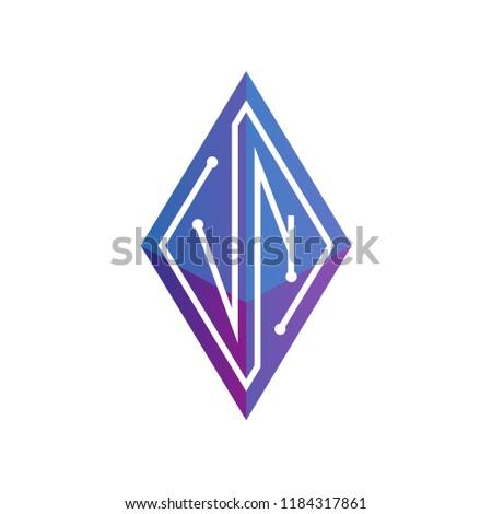 black and magenta v shaped icon for letter n vector illustration stock photo © cidepix