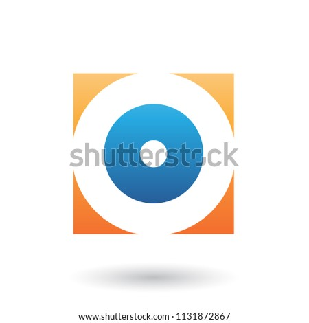 Orange and Blue Square Icon of a Thick Letter O Vector Illustrat Stock photo © cidepix