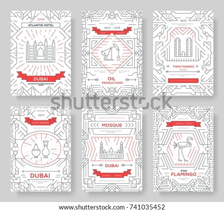 dubai vector brochure cards thin line set country travel template of flyear magazines posters bo stock photo © linetale