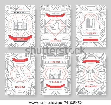 Dubai vetor folheto cartões fino linha Foto stock © Linetale