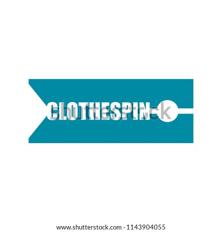 Clothespin sign emblem Lettering. Clothes peg for clothes typogr Stock photo © popaukropa