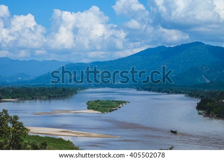 Golden Buddha on the Mekong River, Sop Ruak, Thailand. Gorgeous Asian landscape stock photo © Ainat