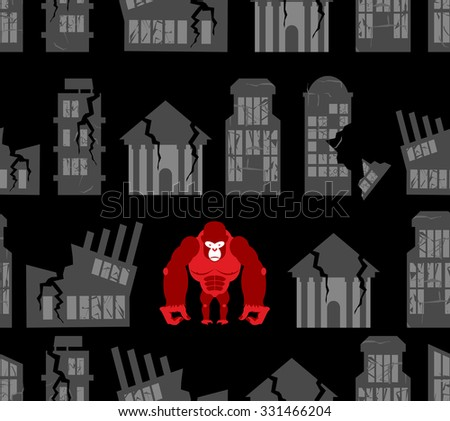 Monkey destroyer in town. Angry Gorilla broke homes and building Stock photo © popaukropa