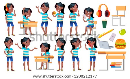 Girl Schoolgirl Kid Poses Set Vector. Black. Afro American. High School Child. Teenage. Book, Worksp Stock photo © pikepicture