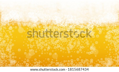 Stock photo: Oktoberfest Banner Illustration with Fresh Beer, Wheat and Hop on Shiny Yellow Background. Vector Tr