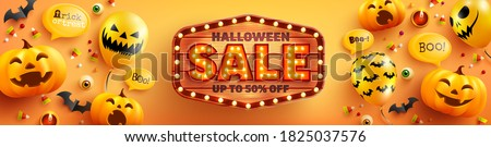 Boo, Halloween Sale banner illustration with scary faced pumpkin and flying bats on abstract colorfu Stock photo © articular