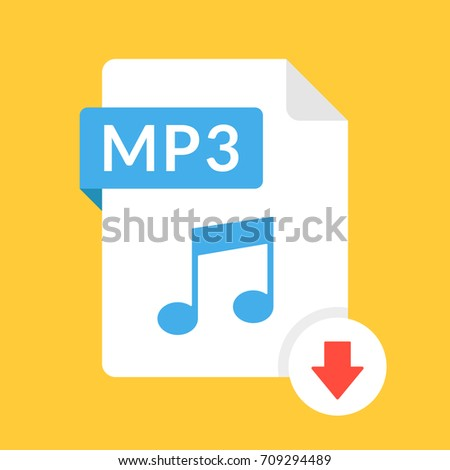 Download MP3 audio File with arrow sign. Audio file format. Downloading audio concept. Flat design v Stock photo © kyryloff
