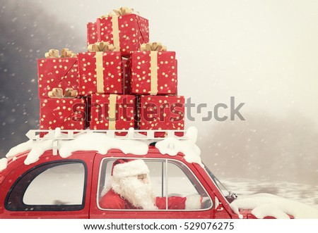 Santa Claus on a red car full of Christmas present with winter background drives to deliver Stock photo © alphaspirit