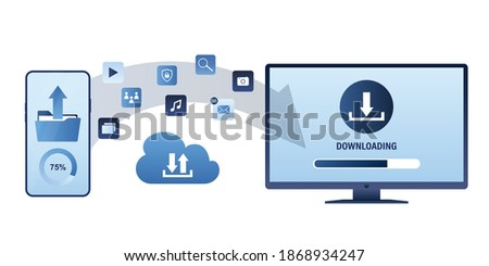 Folder Icon with cloud in trendy flat style isolated on white background, for your web site design,  Stock photo © kyryloff
