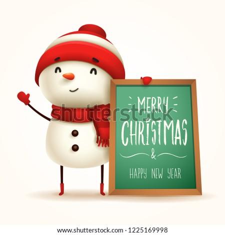 vidám · karácsony · derűs · hóember · üzenet · tábla - stock fotó © ori-artiste