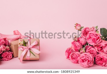 Valentines day sale background with gift box, rose petals, heart pattern, vector illustration. Wallp Stock photo © ikopylov