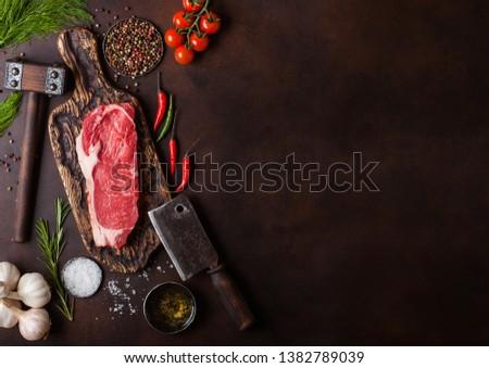 Ruw lendenen biefstuk vintage vlees roestige Stockfoto © DenisMArt