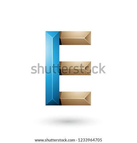blue and beige pyramid like geometrical letter e vector illustra stock photo © cidepix